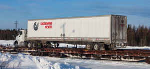 A Large White Colored Fradewine Truck Providing Service to North and Northwest Ontario